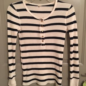 J.Crew Thermal Waffle Knit Henley w/Gold Buttons